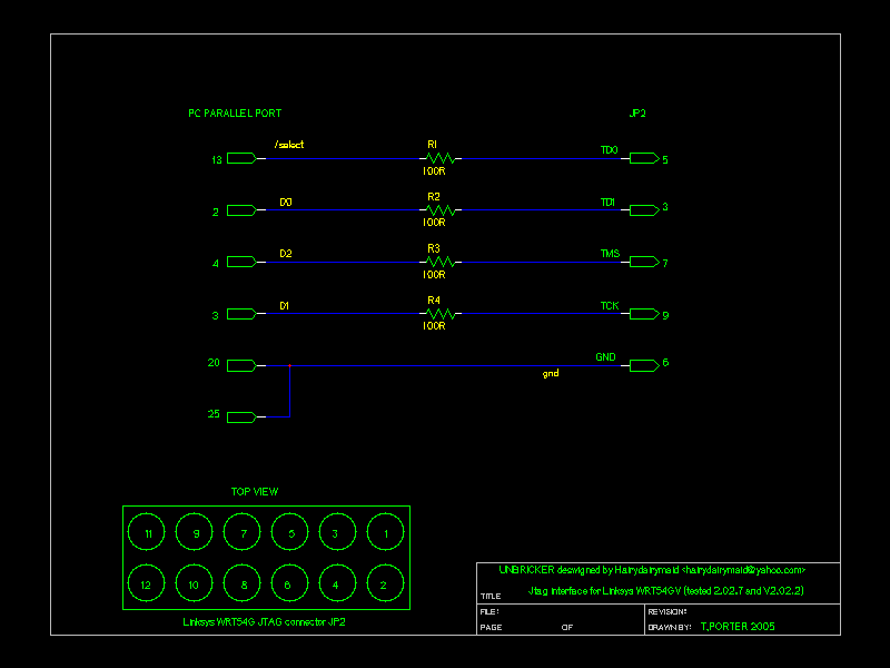 Simple JTAG cable on parallel port with 4 resistors - .[ZooBaB]. on usb wiring, power wiring, timer wiring, keypad wiring, rs-232 wiring, lcd wiring, dvi wiring, ethernet wiring, keyboard wiring, vga wiring, pcb wiring, cpu wiring, led wiring,